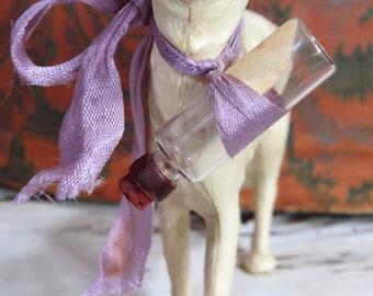 Vintage Dog Figurine Perfume Bottle, Whippet, Greyhound, Cream White Early Hard Plastic, Rhinestone Turquoise Eyes
