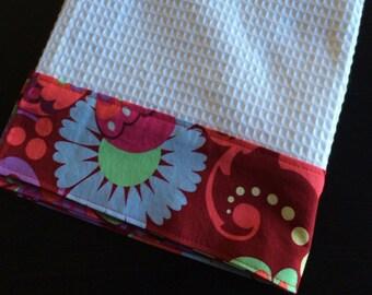 Kitchen Towel, Hand Towel, Tea Towel, Waffle Weave Towel, Dish Towel, Kitchen Hand Towel-Red Floral-Amy Butler