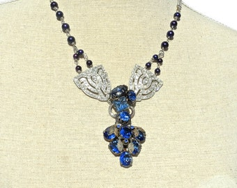 Art Deco Sapphire Vintage Rhinestone Pendant of Antique Jewelry by Dabchick Vintage Gems