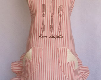 Women's Apron, Shabby Chic, French Cottage, French, Ruffled, Bon Appetit, Embroidered
