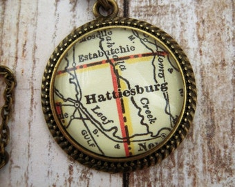 Custom Map Jewelry, Hattiesburg Mississippi Vintage Map Pendant Necklace, Personalize Map Jewelry, Southern Miss Groomsmen Gift Ideas