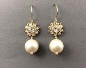 Bridal Pearl Earrings In Gold Crystal Flower And Cream Swarovski Crystal Pearls