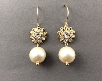Bridal Pearl Earrings In Gold Crystal Flower And Cream Swarovski Crystal Pearls