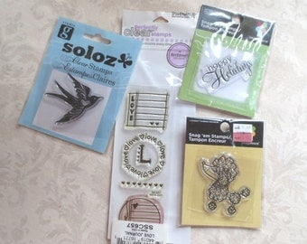 Clear Stamps, New in Package, Destash Lot, 4 pkgs, 7 stamps – Love, Bird, Poodle, Happy Holidays