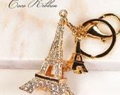 Rhinestone Eiffel Tower Handbag Purse Gold Alloy Key Chain Key Ring B12
