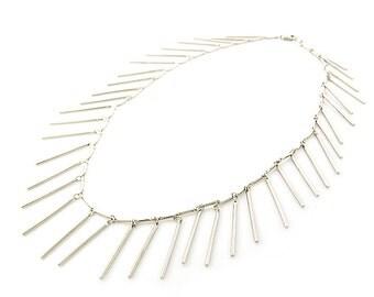 Tassel Necklace - Statement Necklace - Gold Tassel Necklace - Gold Fringe Bib Necklace - Modern Boho Necklace - handmade jewelry