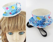 Ready to Ship! Textile Teacup Fascinator-Blue Alice Print *Alice in Wonderland's Mad Hatter Tea Party!*