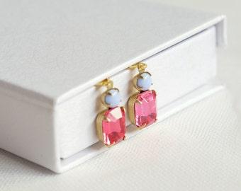 Rose Pink Crystal Earrings, Gold Drop Dangle Earrings, Vintage Czech Glass Leverback Earrings / Wedding, Special Occasion / Vintage