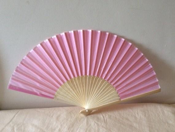 Regency/Victorian Style Fan. Pink Plain Silky Fan. Bridal Favour.
