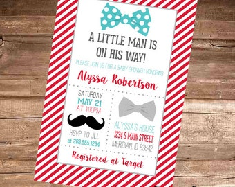 BOWTIES & MUSTACHES - Little Man is on His Way - Baby Boy Baby Shower Invitation - 4x6 Digital File