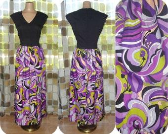 Vintage 70s Dress | 1970s Maxi Dress | AMAZING Op-Art Psychedelic Hostess Gown | Size M/L | Purple Black Green Pucciesque