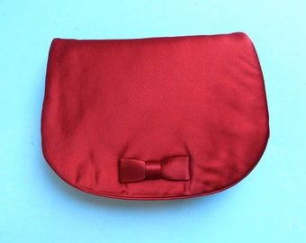 Vintage 1950's/Red Satin Clutch/Red Satin Purse/Morris Moskowitz/Red Evening Clutch/Red Silk Evening Purse