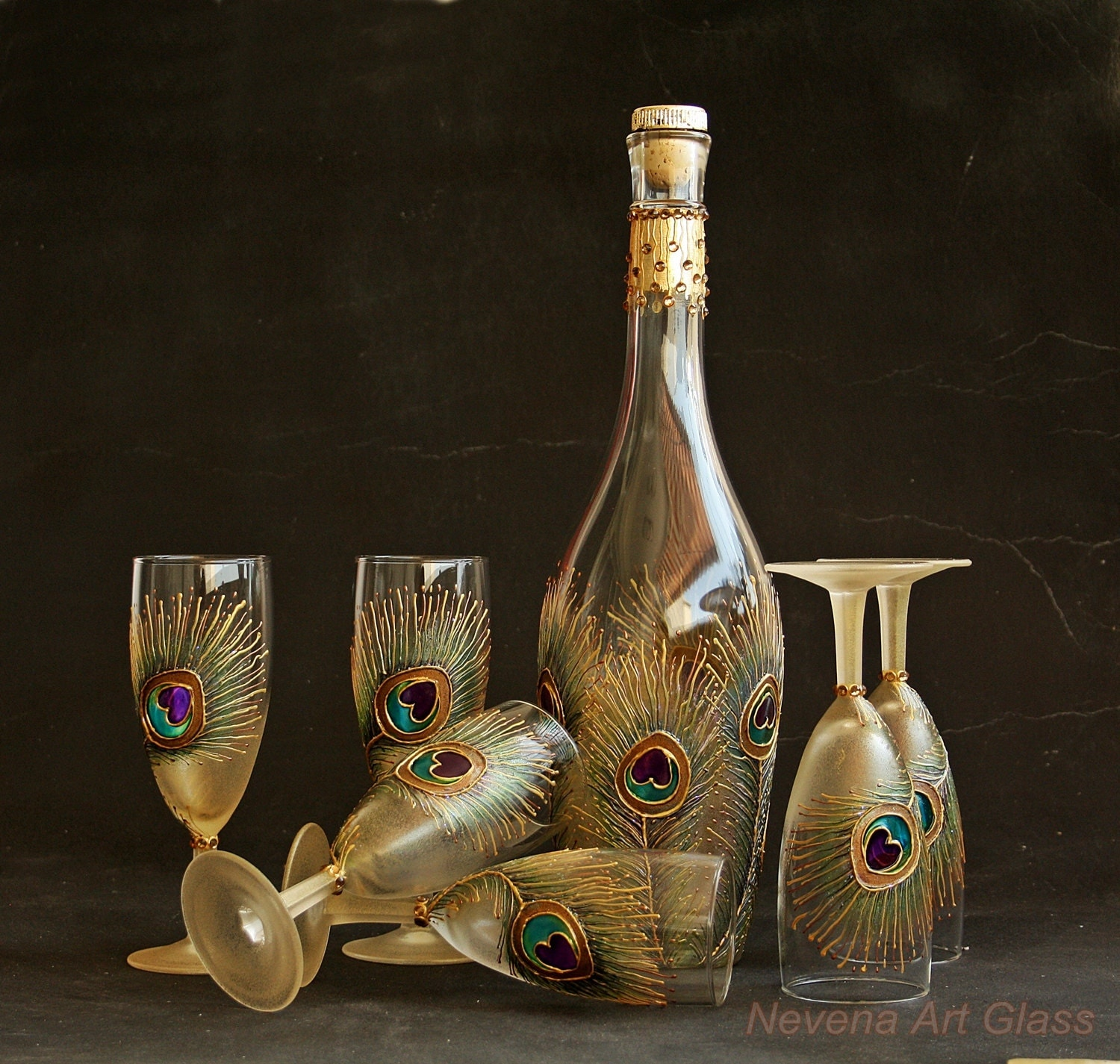 peacock glasses wine glasses set bottle peacock feather