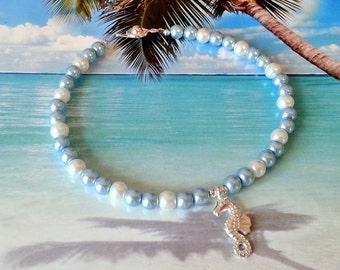 Blue white pearl seahorse anklet beach charm ankle bracelet coastal jewelry beach gifts