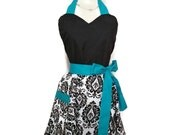 Pin up Sweetheart apron, Flirty Aprons, Black and White Damask apron, sexy aprons, Teal Ties, bridal shower gift, full hostess women's apron