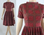 Early Sixties Dress - Vintage Fit and Flare Dress - 60s Patterned Day Dress - Small Cotton Dress
