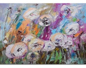 The Dandelions - Original colorful white Floral Oil Painting on Canvas Palette Knife gallery fine art ready to hang impasto