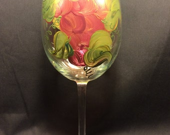 Hand Painted Wine Glass - Grapes 'n Gold - EMH-1
