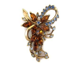 rhinestone flower brooch, light blue, amber rhinestones, vintage, gold tone, signed kc, wedding bouquet, wedding, mothers day gift