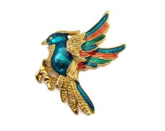 tropical bird brooch, bird pin, bird of paradise, parrot, enamel, gold tone, beach wedding, nautical