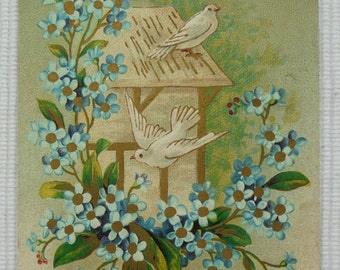 Vintage French Postcard - 'Modest Offering of the Heart' Doves with Blue Flowers