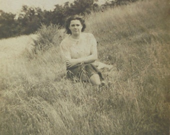 Vintage Photograph - Woman Sat in a Field