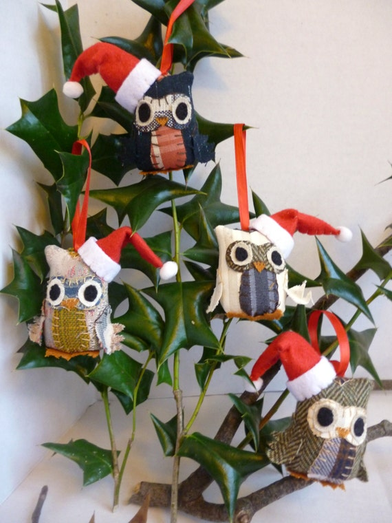 Set of 4 Owl Christmas Ornaments - 3 Inch Tall Plush Owl Ornaments Made From Re-Purposed and Salvaged Fabrics