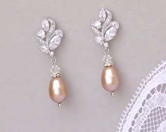 Champagne Pearl Earrings, Blush Pearl Drop Earrings, Small Bridal Earrings, Wedding Earrings,, FLEUR