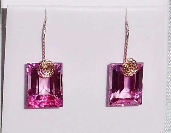 GENUINE 42cts Emerald cut Pink Topaz gemstones, 14kt yellow gold Pierced Earrings