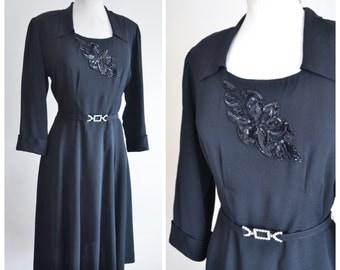 1940s Black crepe sequin evening dress / 40s flared skirt dress - M