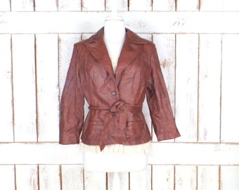Vintage brown leather blazer jacket/cropped/belted leather jacket/fitted 70s leather jacket