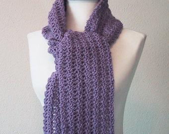 Lavender Long Scarf - Hand Crocheted - Soft Acrylic Yarn - Handmade - Ready to Ship
