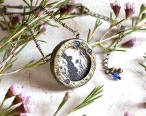 Gold Rabbit Necklace, Bunny Rabbit Pendant, Rabbit Painting, Wearable Art, Rabbit Jewelry, Rabbit Lover, Sapphire Necklace, Easter Gift