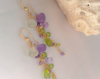 Prehnite Peridot and Amethyst Linear Gemstone Earrings Cluster 14k Gold Filled Mothers Day Gift for Her Bridal Earrings