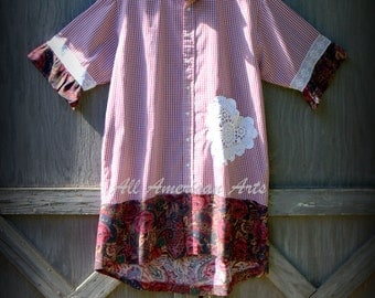 Upcycled, refashioned, repurposed man's shirt, ladies tunic, red check, size L/XL
