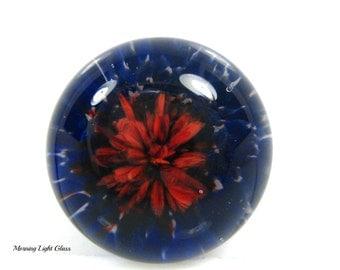 18mm Red Dahlia Boro Lampwork Glass Cabochon