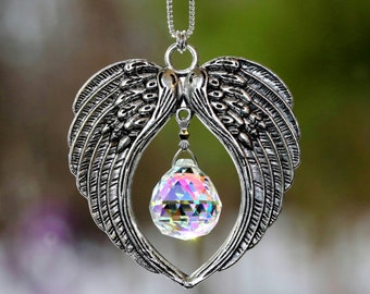 Angel Wings + Aurora Borealis Rainbow Maker Leaded Crystal Ball Suncatcher Car Charm Ornament, Pearl Place N More
