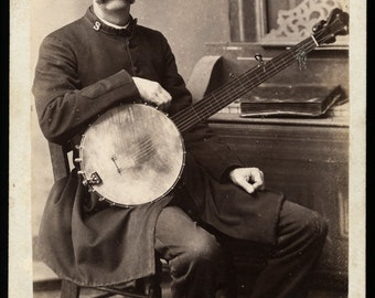 RESERVED / Do Not Buy // Cabinet Card Photo of Salvation Army Banjo Player