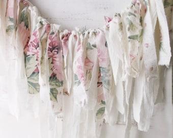 Pink Shabby Chic Roses Fabric Garland. Romantic Shabby Wall Decor. Photo Prop. Weddings. Birthdays.Window Valance. White Pink Pastels