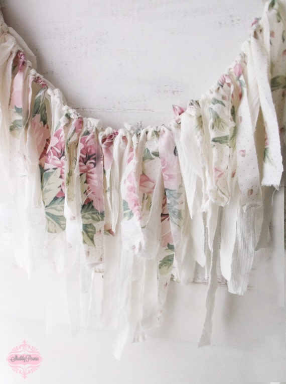 Pink shabby chic roses fabric garland romantic by for Shabby chic garland lights