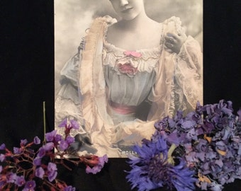 Belle Epoque French Postcard - Rolly by Reutlinger - Pastel Colors - Hand Tinted - Antique Photo - Woman