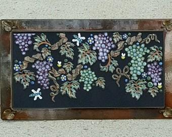 MOSAIC WALL ART wall decor garden grapes indoor outdoor patio art handmade art tile with cast bronze leaves