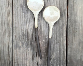 Ceramic Spoons Handmade brown green  Home Decor  Cassius black clay- pair of spoons