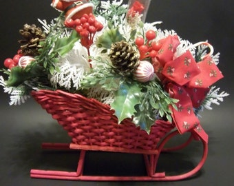 Wicker Sleigh Christmas Floral Picks with Santa Pick