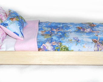 Single Doll Bed - Fairies American Made Girl Doll Bed - Fits AG Doll and 18 inch dolls Bitty Baby Doll Bed 18' Doll Furniture