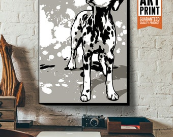 Dalmatian, Dog, Art Print, Pop Art style, Poster size, Canvas Art Print in black, white and grey, Dog Nursery, Dog Decor, Pet Wall Art