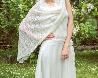 White Wedding Stole Bridal Shawl Lace Scarf Bridal Boho Scarf Linen Stole Sheer Stole Bridal Cover Ups Knitted Wrap Gauzy Scarf
