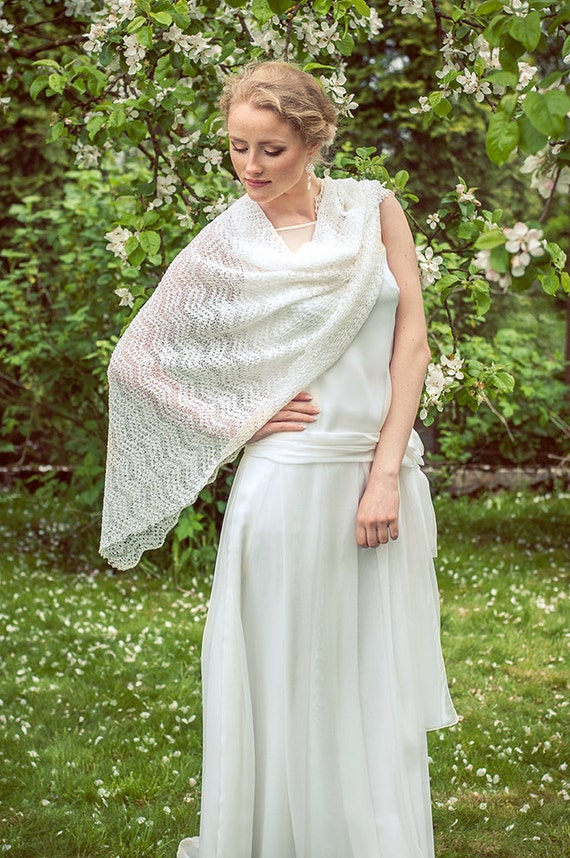White Wedding Stole Bridal Shawl Lace Scarf Bridal Boho Scarf Linen Stole Sheer Stole Bridal Cover Ups Knitted Wrap Gauzy Scarf