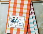 Wine Oclock Kitchen Towel Couple Drinking Wine Chickens Hen Rooster Orange Sunrise Plaid Cotton