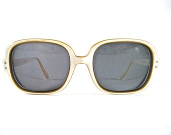Ray-Ban Vintage Chandra sunglasses frames. White cream and yellow square mod sunglasses. 1960s Raybans.